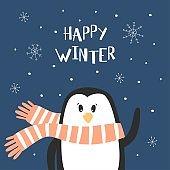 Cartoon cute penguin.