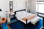 Interior of elegant hotel bedroom