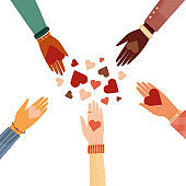 Modern vector illustration of charity and donation. Hands with a heart symbol. for social activity. International people give hearts and love.
