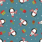 Seamless pattern with penguins.