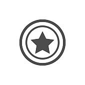 Black star in circle icon isolated on white background. Vector illustration.