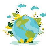 Ecology concept. People take care about planet ecology. Protect nature and ecology banner. Earth day. Globe with trees, plants. Vector illustration