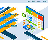Seo analysis and optimization isometric vector. Seo strategies landing page.