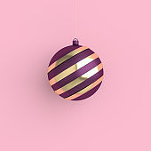 Merry Christmas and Happy New Year 3d render illustration card with purple and gold xmas ball. Winter decoration, minimal design