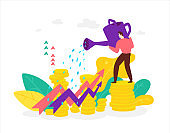Illustration of a broker of a financier with a watering can who watches the growth of stocks and benefits. Vector. Flat style. The investor cares about their money. Revenue growth. The manager is standing on a stack of coins.