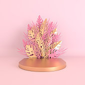 Tropical paper palm, monstera leaves and flowers frame, podium platform for product presentation. Summer tropical leaf. Origami  jungle background. Pastel and gold colors. Paper cut 3d render