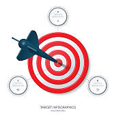 Target infographic banner with 3 options. Business success concept. Vector illustration