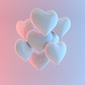 3d render illustration of realistic white glossy heart balloon on white background, colorful studio light. Valentine's Day romantic elegant 14 february card. For party, promotion social media banners, posters.