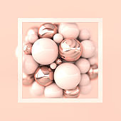 Colorful balls 3d rendering. Chaotic spheres geometric abstract background, frame, primitive shapes, minimalistic design, pink and rose gold colors