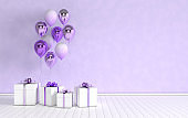 3d render interior with realistic glossy purple metallic foil and colorful balloons and gift box with bow in the room. Empty space for party, promotion social media banners, posters.