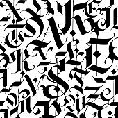 Pattern, ornament in the Gothic style. Alphabet. Symbols are black on a white background. Calligraphy and lettering. Medieval Latin letters. Logo for the company. Set. Elegant font for tattoo.