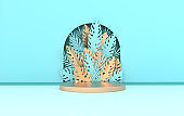 Wall scene with arch, tropical paper palm, monstera leaves and frame, podium platform for product presentation. Summer tropical leaf. Pastel and gold colors. Paper cut 3d render