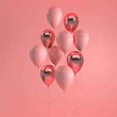Illustration of glossy pink and rose gold balloons on pastel colored background. Empty space for birthday, party, promotion social media banners, posters. 3d render realistic balloons