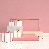 3d rendered interior with geometric shapes, podium on the floor and gift box. Set of platforms for product presentation, mock up background. Abstract composition in modern minimal design