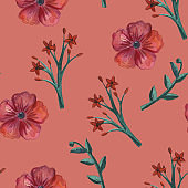 Floral set pattern. Flower seamless background. Flourish ornamental spring garden bloom texture.