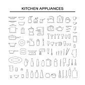 Set dishes and appliances for the kitchen line art vector black white isolated illustration.