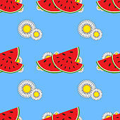 Colorful seamless pattern of red watermelons and small white flowers on a blue background. Simple flat vector illustration. For the design of paper wallpaper, fabric, wrapping paper, covers, web sites.