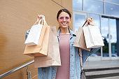 Showing shopping bags
