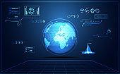 abstract technology ui futuristic map hud interface hologram elements of digital data chart, communication, computing and circle percent vitality innovation on hi tech future design background