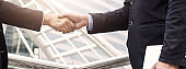 Success business, successful agreement negotiation and confident  partner cooperation concept, Businessman shake hands with customer in banner background