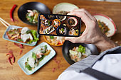 Taking Smartphone Photo of Delicious Food