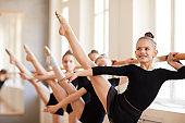 Smiling Girl in Ballet Class