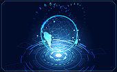 abstract technology ui futuristic concept world business hologram elements of digital data chart, communication, circle percent vitality innovation on hi tech future design background