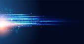 Abstract technology hi tech background concept speed movement motion blur moving fast in the light for template design dark blue .Vector illustration