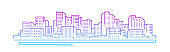 Line cityscape. City landscape. Buildings panorama. Simple modern cartoon design. Realistic silhouette. Urban view with skyscrapers. Colorful template. Line design. Flat style vector illustration.