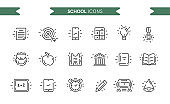 School icons set isolated. Line art. Editable. Signs and symbols. Modern simple style. Phone, tablet, books, apple, target, building, pencil, clock, bell, bus. Flat style vector illustration.