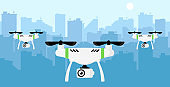 Drone with camera against city background. Aerial photography and video recording. Realistic beautiful template concept. Simple modern icon. Flat style vector illustration.