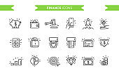 Finance, business icons set isolated. Line art. Editable. Signs and symbols. Modern simple style. Phone, piggy bank, money, start up, coin, graphic, pig, diamond. Flat style vector illustration.