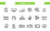 Finance, money icons set isolated. Line art. Editable. Signs and symbols. Modern simple style. Phone, monitor, target, coin, tablet, piggy bank, safe, wallet. Flat style vector illustration.