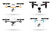 Cute cartoon drones set isolated on white background. Aerial quadcopter concept with shadow. Simple design icon or logo. Flat style vector illustration.