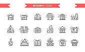Buildings icons set isolated. Line art. Editable. Signs and symbols. Modern simple style. Shop, factory, market, bank, university, skyscrapers, key, garage, church. Flat style vector illustration.