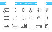 Devices, gadgets icons set isolated. Line art. Editable. Signs and symbols. Modern simple style. Phone, tablet, monitor, laptop, camera, watches, pc, mouse, router. Flat style vector illustration.