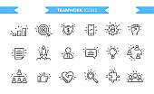 Teamwork icons set isolated. Line art. Editable. Signs and symbols. Modern simple style. Phone, people, target, graphic, heart, hand, search, money, puzzle. Flat style vector illustration.