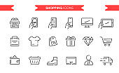 Shopping icons set isolated. Line art. Editable. Signs and symbols. Modern simple style. Phone, tablet, store, gift, sale, clothes, delivery, package, money. Flat style vector illustration.