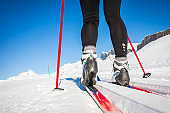 Young woman cross-country skiing on a winter day
