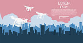 Delivery drone shooting with the package against city background. Fast and convenient transportation concept. Flat banner poster vector illustration.