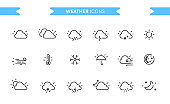Weather icons set isolated. Line art. Editable. Signs and symbols. Modern simple style. Clouds, rain, snow, sun, cold, warm, night, day, moon, temperature, wind. Flat style vector illustration.