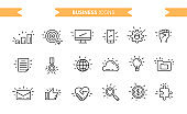 Business icons set isolated. Line art. Editable. Signs and symbols. Modern simple style. Phone, graphic, target, hand, web, like, search, work, job, partnership. Flat style vector illustration.