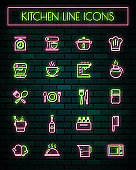 Kitchen thin neon glowing line icons set.vector illustration.