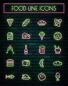 Foods thin neon glowing line icons set.vector illustration.
