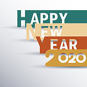 Happy New Year 2020 logo text design. Cover of business Planner for 2020 with wishes. Brochure design template, card, banner. Vector illustration. Isolated on white background.