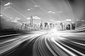 City motion blur effect in black and white