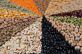 Big collection of different cereals and edible seeds.