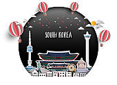 South Korea Landmark Global Travel And Journey paper background. Vector Design Template.used for your advertisement, book, banner, template, travel business or presentation.
