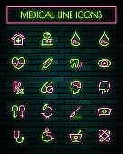 Medical and tools thin neon glowing line icons set.vector illustration.