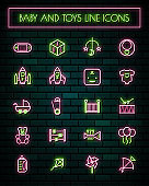 Baby tools thin neon glowing line icons set.vector illustration.